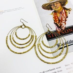BOHO Gold Circle Beaded Earrings Multi Layer